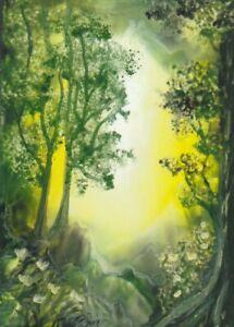 "Original Encaustic Wax Aceo Card ""Forest Grove "" J.E.Green"