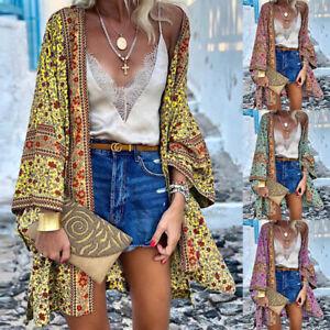 Womens Floral Cardigan Ladies Long Sleeve Kimono Summer Boho Beach Cover Up Tops