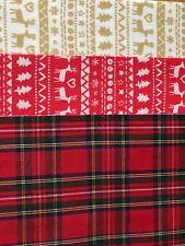 Cotton Fabric Back Felt Sheet A4 Red Tartan Christmas Bow Maker Glitter Die Cut