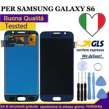 DISPLAY LCD PER SAMSUNG GALAXY S6 G920F SM-G920F BLU TOUCH SCREEN VETRO SCHERMO