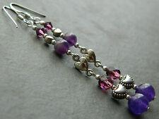 Amethyst, Swarovski, Vintage Purple Glass, Tibetan Hearts & Silver Long Earrings