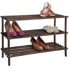 Schuhregal aus Holz mit drei Böden dunkel gebeizt Schuh-Regal für bis zu 9 Paar