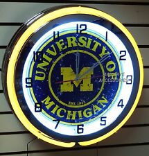 "18"" University of MICHIGAN Wolverines Sign Double Neon Clock Go Blue"