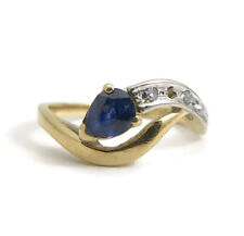 Vintage Pear Blue Sapphire and Diamond Wave Ring, 18K Yellow Gold, 2.5 Grams