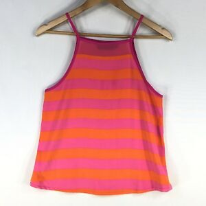 MinkPink Singlet Size XS 8 Sleeveless Top Shirt A Line Pink Orange Striped