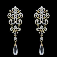 Long Crystal Drop Earrings Diamante Chandelier Bridal Rhinestone Silver Dangle