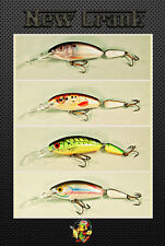 4 pcs Ugly Duckling Fishing Lures Jointed Balsa Wood Lures, bass, walleye, trout