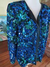 L. KAZAR Sequin Jacket Aqua BLUES Beaded Silk Wearable Art. To 42 bust. Petite