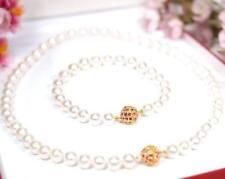 LUXUS Akoya Perlen Kette Armband Set mit Gelbgold plattierte Schliesse (AG9set)