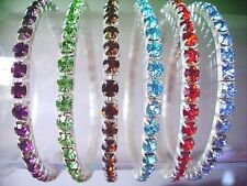 Lots 12Pcs 1Row Stretchy Mixed Colors Crystal Rhinestone Bracelets