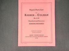 Barber Coleman # 6-10 Hobbing Machine Parts Manual *7