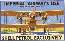 Années 1930 IMPERIAL AIRWAYS SHELL CARBURANT AVIATION publicité Poster A3 réimpression