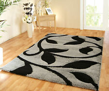 NEW EXTRA LARGE THICK DEEP PILE GREY/SILVER BLACK SHAGGY SOFT CHUNKY RUG 160x220