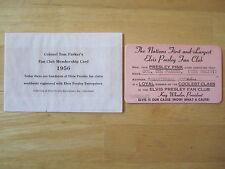 Colonel Tom Parker's Fan Club Membership Card, 1956 Elvis Presley Reproduction