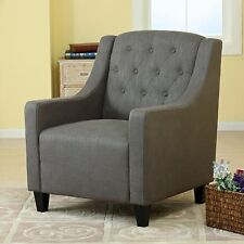 Canberra Grey Fabric ArmChair & FootStool Lounge Arm Tub Chair Sofa