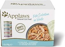 More details for applaws natural wet cat food, multipack fish selection in broth 70 g tin pack 12