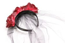 Halloween Costume Scary Girl Headband w Large Roses&Black Netting (S366)