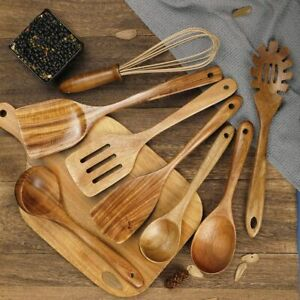 Wooden Kitchen Utensils for Cooking Natural Teak Wood 8 Set Spatula Spoon NEW