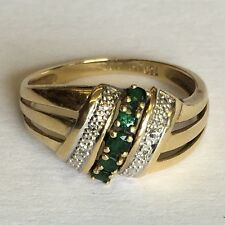 Vintage Solid 18ct Gold Diamond And Emerald Dress Ring Size L1/2