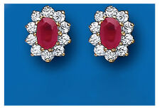 Ruby Earrings Cluster Stud Yellow Gold Studs