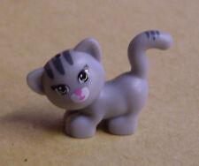 Lego gato gris con rayas y cara (animales personaje de pie Cat) nuevo