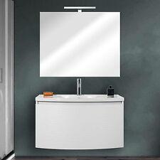 Mobile bagno moderno design curvo 80 cm bianco opaco cassettone acciaio specchio
