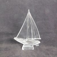 "Vintage Clear Hand Blown Art Glass Sailboat Figurine/Paperweight 8"" Tall Italy"
