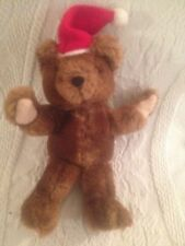 "Mini 7"" Russ Plush Stuffed Brown Teddy Bear Wearing Santa Hat Xmas"