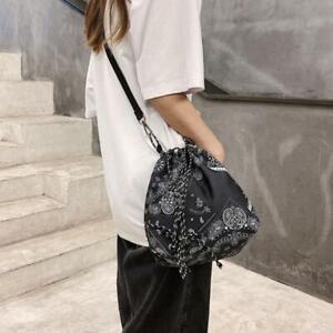 Ethnic Paisley Drawstring Bucket Bag Adjustable Shoulder Crossbody Handbag Purse