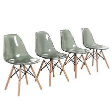 Lot de 4 chaises design tendance rétro bois chaise de salle à manger - Gris fumé