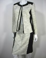 LAFAYETTE 148 New York Long Sleeve Blazer SKIRT Suit Size 10 Black White 252