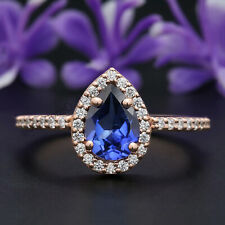 Blue Sapphire Pear Stone Ring 14K Solid Gold Engagement Wedding Gift Ring GR229