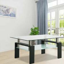 Rectangular Coffee Table Glass Shelf Living Room Wood Furniture Black US