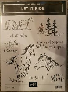 USED Stampin' Up! LET IT RIDE Cling Stamp Set 145766 HORSES