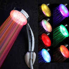 Wonderful Colorful LED Light Stainless Steel Round Rain Bathroom Shower Head HOT