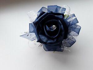 Prom /Wedding navy blue Rose /silver Wrist Corsage/sparkle crystal bead bracelet