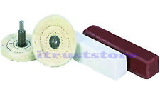 4 PC POLISHING BUFF BUFFING BUFFER COTTON WHEEL KIT JEWELERS ROUGE COMPOUND BARS