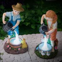 Solar Powered LED Boy Girl Lantern Lamp Outdoor Garden Decor Patio Decking Lawn
