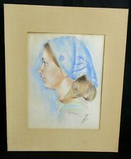 Vtg Original Art Portrait Chalk Pastel Drawing Young Woman Girl Head Scarf 1976