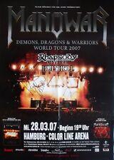 MANOWAR - 2007 - Konzertplakat - Demons Dragons - mit Autogrammen - Signed