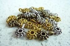 30 Mixed Antique Silver Bronze Gold Charm Bail Hangers bead 12.5x9x4mm hole 2mm