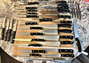 35 Asstd. JA Henckels Stainless Steel Kitchen Knives & Sharpening Steel Chef's