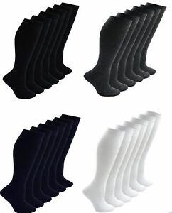 Pack 3x 6x 12x Mens Womens Ladies Boys Girls Cotton Rich Plain Socks Uniform