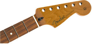 "Genuine Fender Roasted Maple Stratocaster Neck 12"" Pau Ferro Flat Oval"
