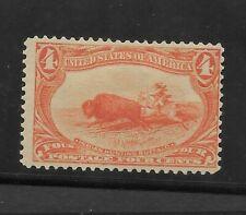 US Scott #287 mint hinged 1898 4c orange Trans Mississippi Expo issue og f/vf