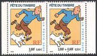 France 2000 Tintin/Dog/Cartoons/Stamp Day/Herge/Books/Animation 2v set pr n32630