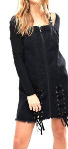 NEW URBAN BLIS DENIM PINAFORE DRESS LACE UP  S 6 10 $110 WOMEN BLACK DUNGAREE