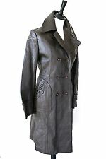 Vintage Brown Leather Coat - 1970s - UK 10 / 12