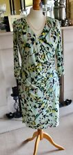 Marks and Spencer Per Una Size 14 floral faux wrap dress (aqua print) RRP £45