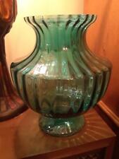Very RARE TEAL Color PILGRIM GLASS Fluted Urn Style Vase GEM MINT Paper Label  2